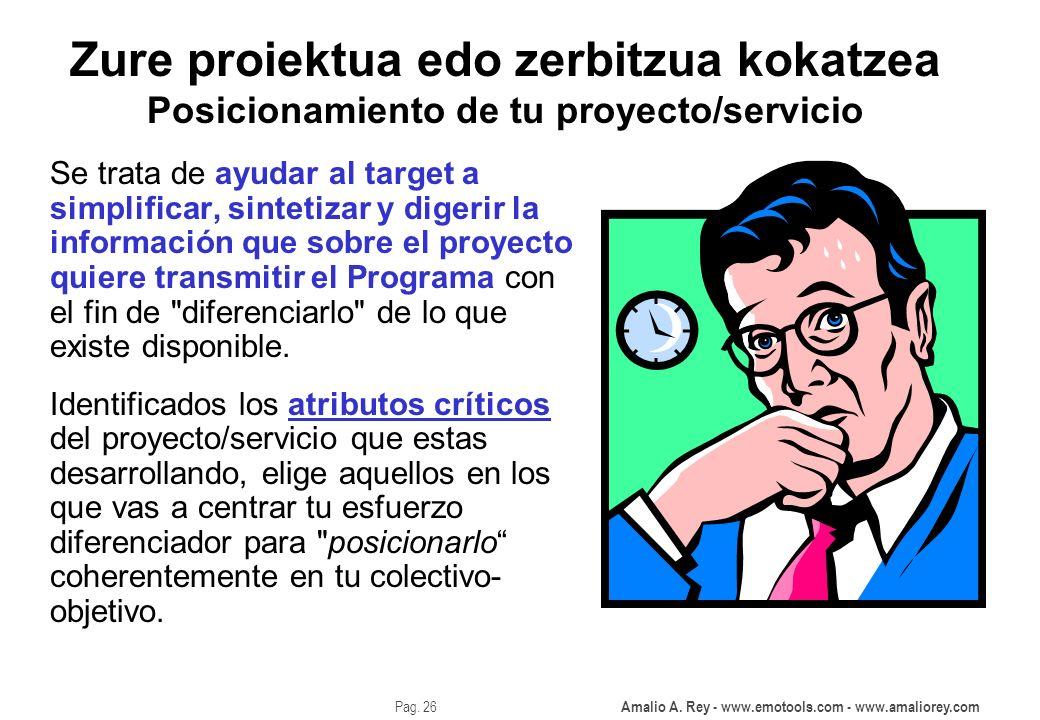 Amalio A. Rey - www.emotools.com - www.amaliorey.com Pag. 26 Zure proiektua edo zerbitzua kokatzea Posicionamiento de tu proyecto/servicio Se trata de