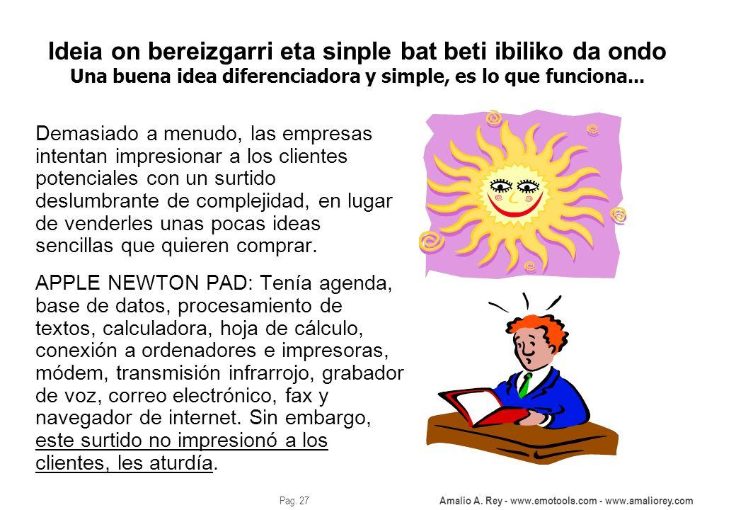 Amalio A. Rey - www.emotools.com - www.amaliorey.com Pag. 27 Ideia on bereizgarri eta sinple bat beti ibiliko da ondo Una buena idea diferenciadora y