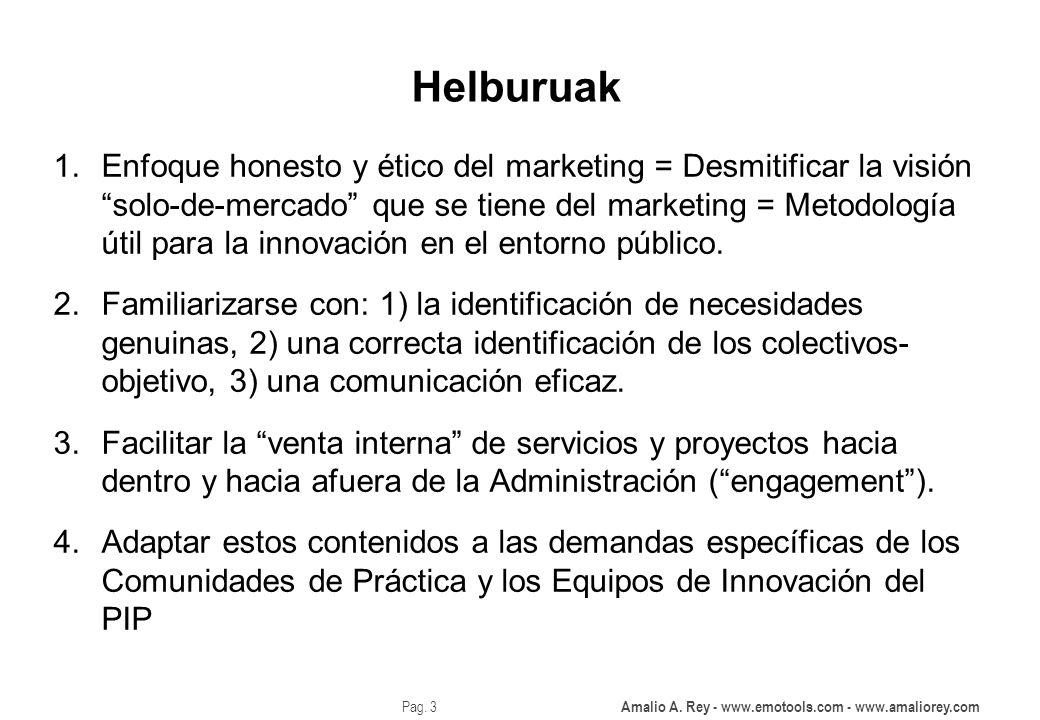 Amalio A. Rey - www.emotools.com - www.amaliorey.com Pag. 3 Helburuak 1.Enfoque honesto y ético del marketing = Desmitificar la visión solo-de-mercado