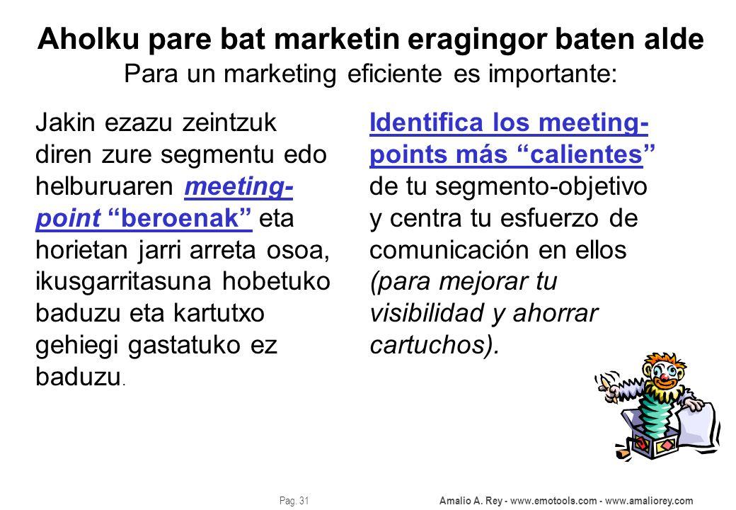 Amalio A. Rey - www.emotools.com - www.amaliorey.com Pag. 31 Aholku pare bat marketin eragingor baten alde Para un marketing eficiente es importante: