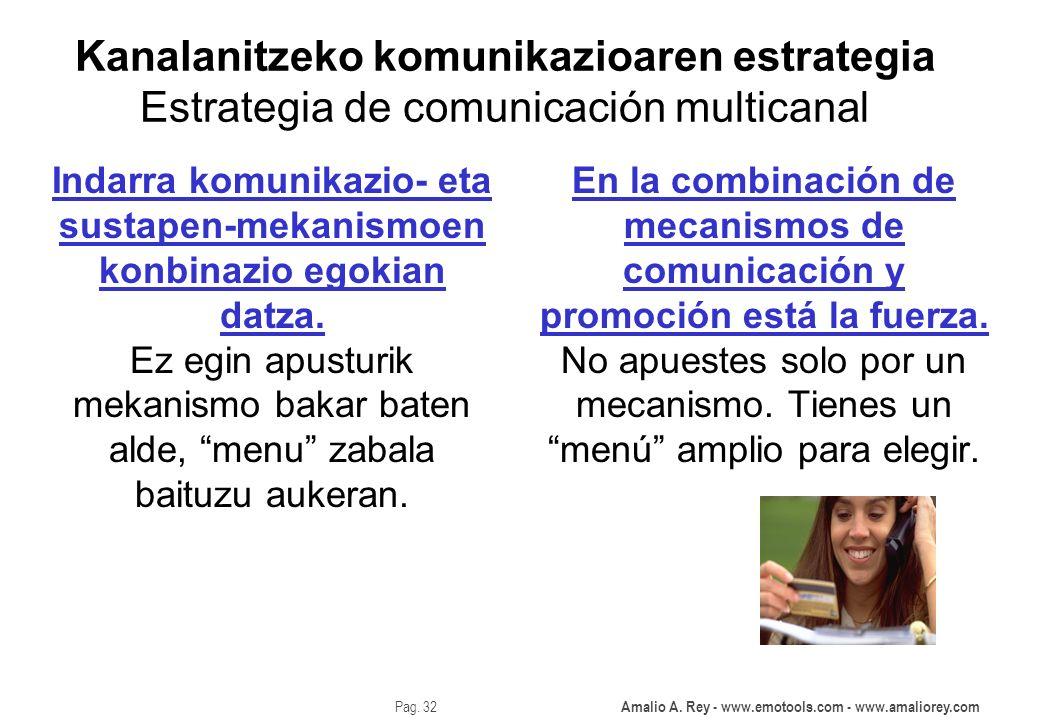 Amalio A. Rey - www.emotools.com - www.amaliorey.com Pag. 32 Kanalanitzeko komunikazioaren estrategia Estrategia de comunicación multicanal En la comb