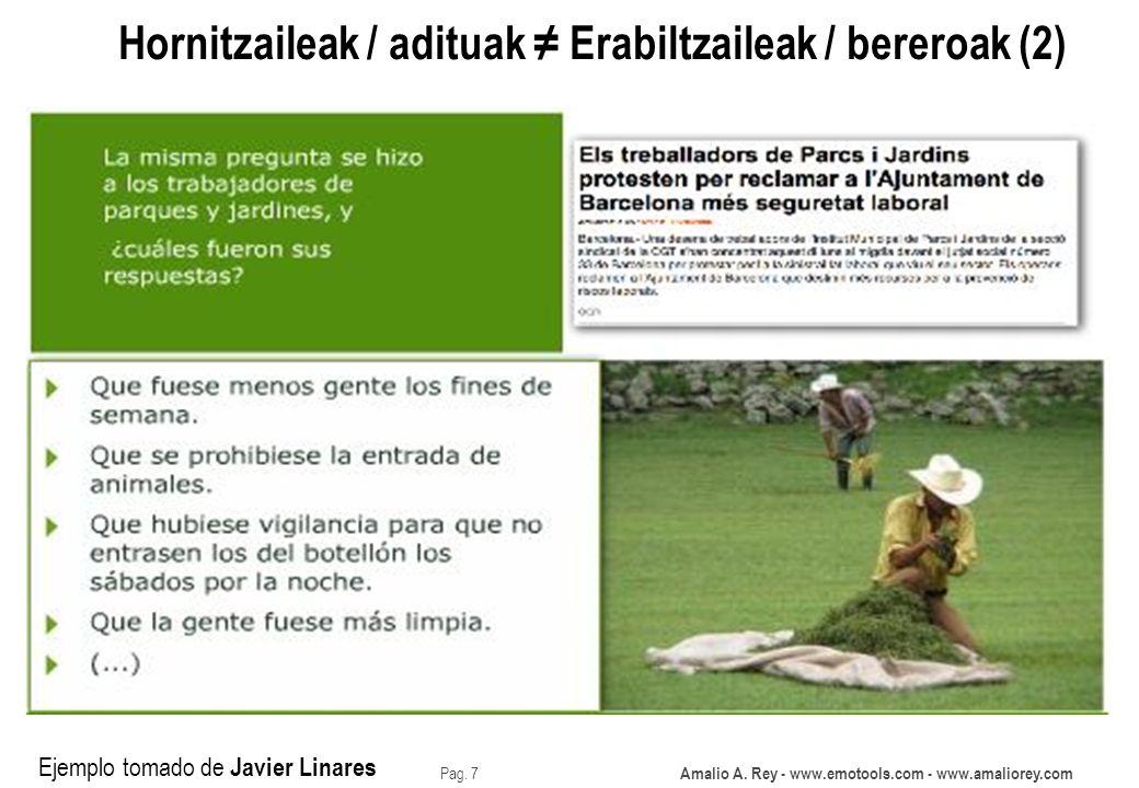 Amalio A. Rey - www.emotools.com - www.amaliorey.com Pag. 7 Hornitzaileak / adituak Erabiltzaileak / bereroak (2) Ejemplo tomado de Javier Linares
