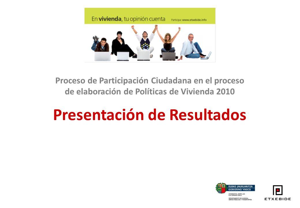 Proceso de Participación Ciudadana en el proceso de elaboración de Políticas de Vivienda 2010 Presentación de Resultados
