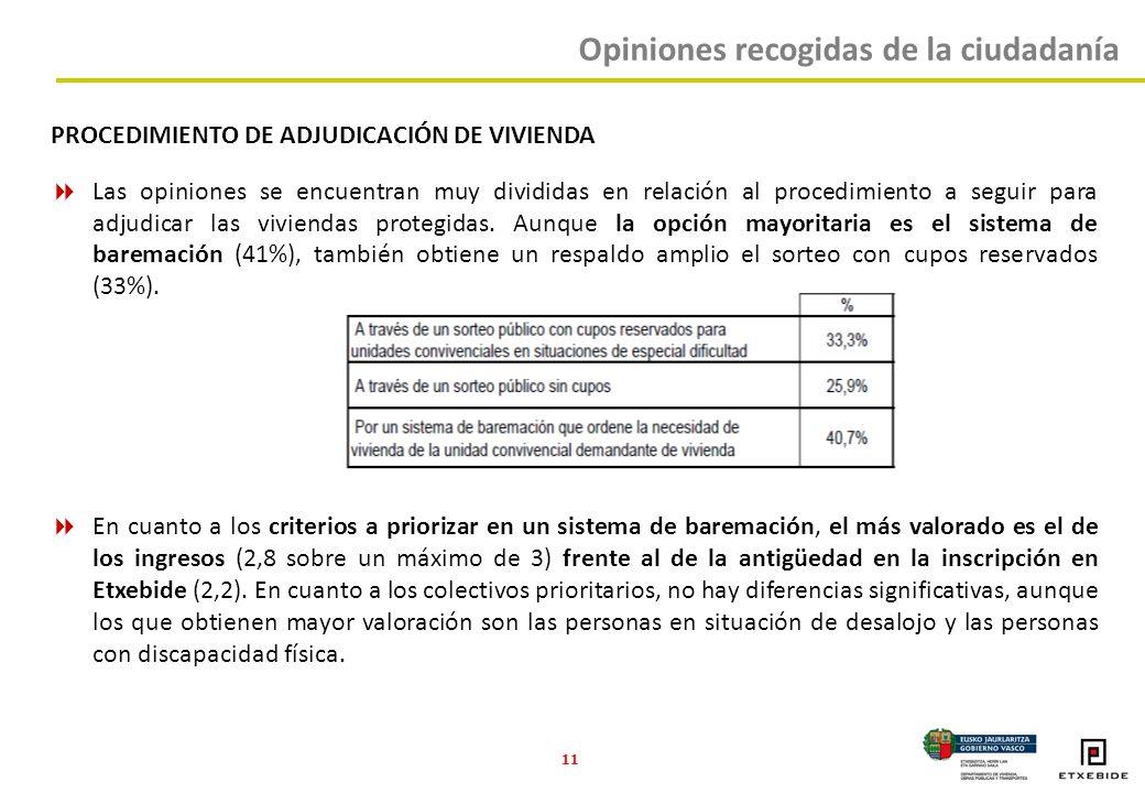 11 PROCEDIMIENTO DE ADJUDICACIÓN DE VIVIENDA Las opiniones se encuentran muy divididas en relación al procedimiento a seguir para adjudicar las viviendas protegidas.