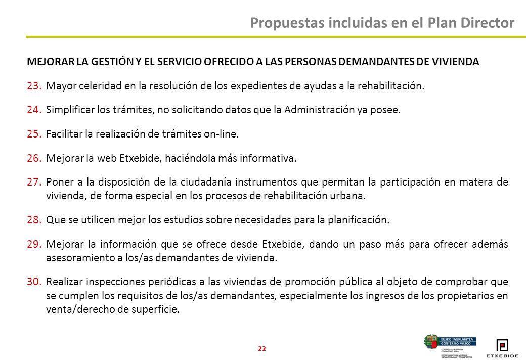 22 MEJORAR LA GESTIÓN Y EL SERVICIO OFRECIDO A LAS PERSONAS DEMANDANTES DE VIVIENDA 23.Mayor celeridad en la resolución de los expedientes de ayudas a la rehabilitación.