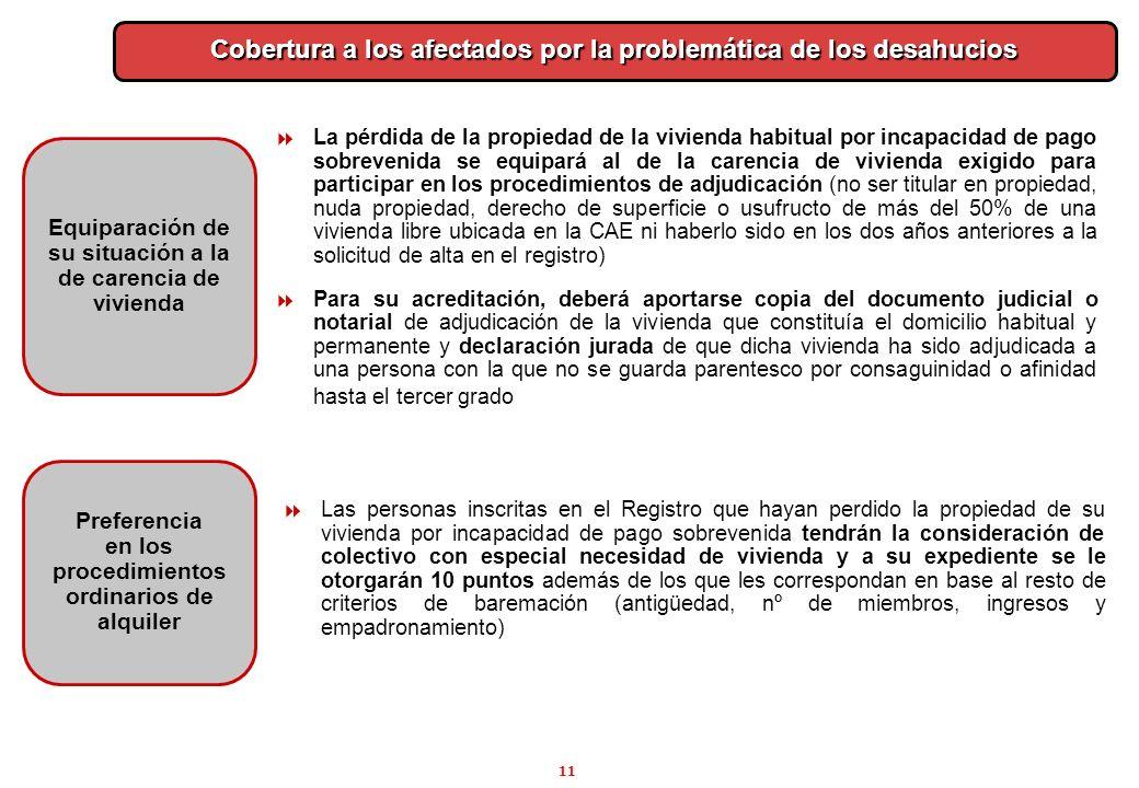11 Preferencia en los procedimientos ordinarios de alquiler Cobertura a los afectados por la problemática de los desahucios Las personas inscritas en
