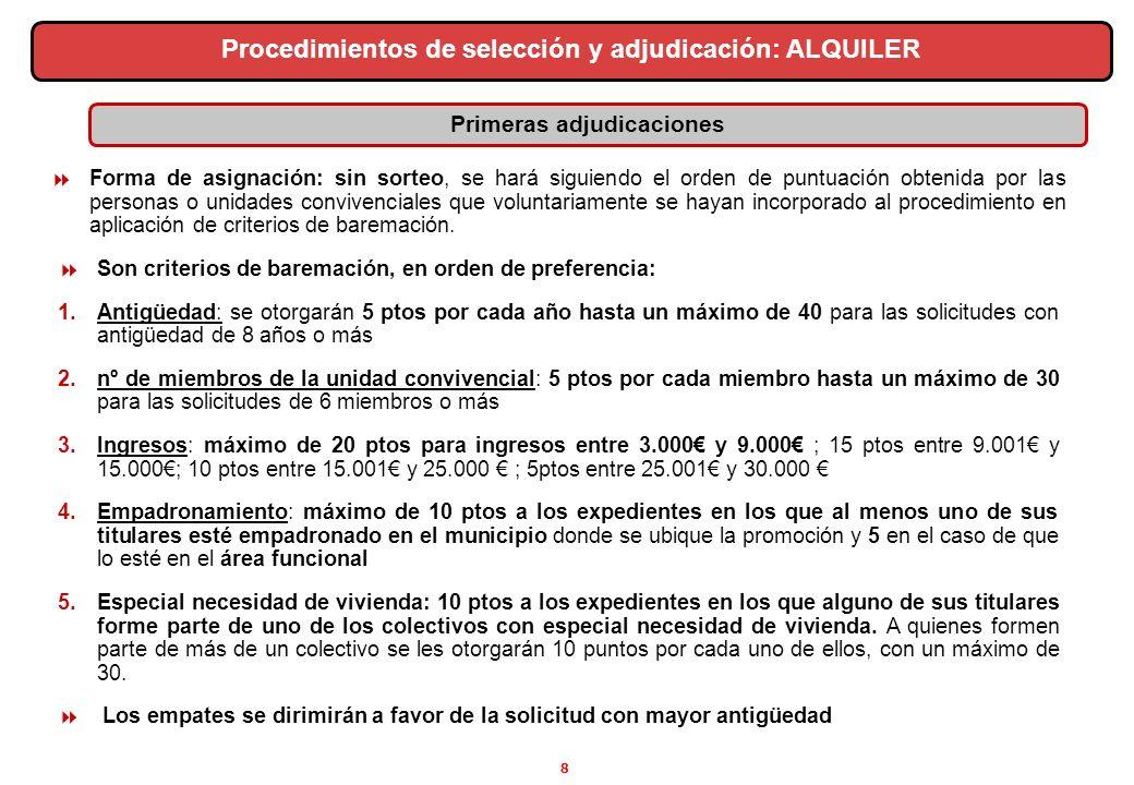 8 Primeras adjudicaciones Procedimientos de selección y adjudicación: ALQUILER Forma de asignación: sin sorteo, se hará siguiendo el orden de puntuaci