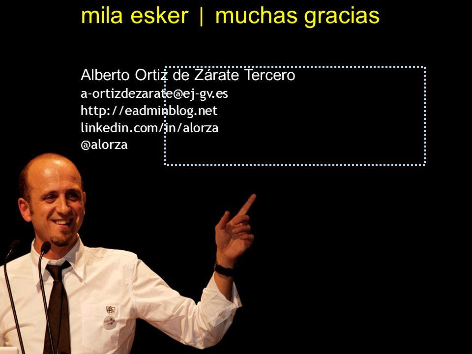 mila esker | muchas gracias Alberto Ortiz de Zárate Tercero a-ortizdezarate@ej-gv.es http://eadminblog.net linkedin.com/in/alorza @alorza