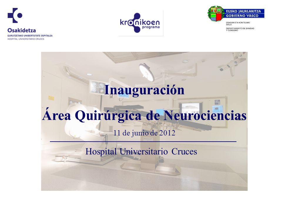 Hospital Universitario Cruces Nueva Área Quirúrgica de Neurociencias OBJETO El Hospital Universitario Cruces cuenta con una nueva área quirúrgica de alta tecnología, que le sitúa a nivel de los centros asistenciales avanzados europeos en el campo quirúrgico de las neurociencias.