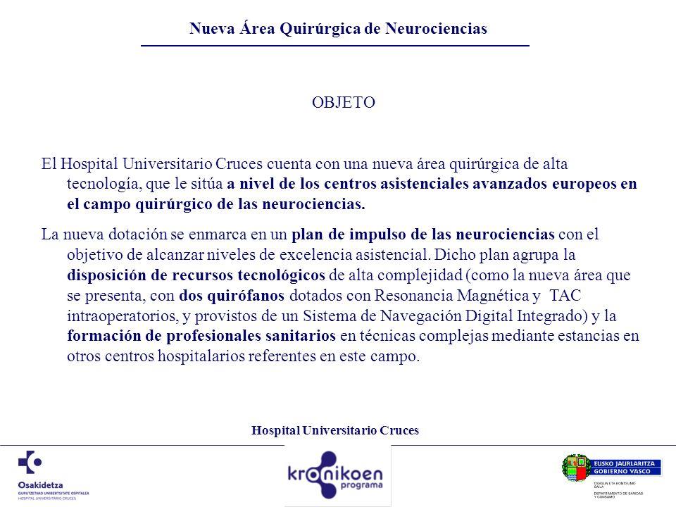 Hospital Universitario Cruces Nueva Área Quirúrgica de Neurociencias OBJETO El Hospital Universitario Cruces cuenta con una nueva área quirúrgica de a