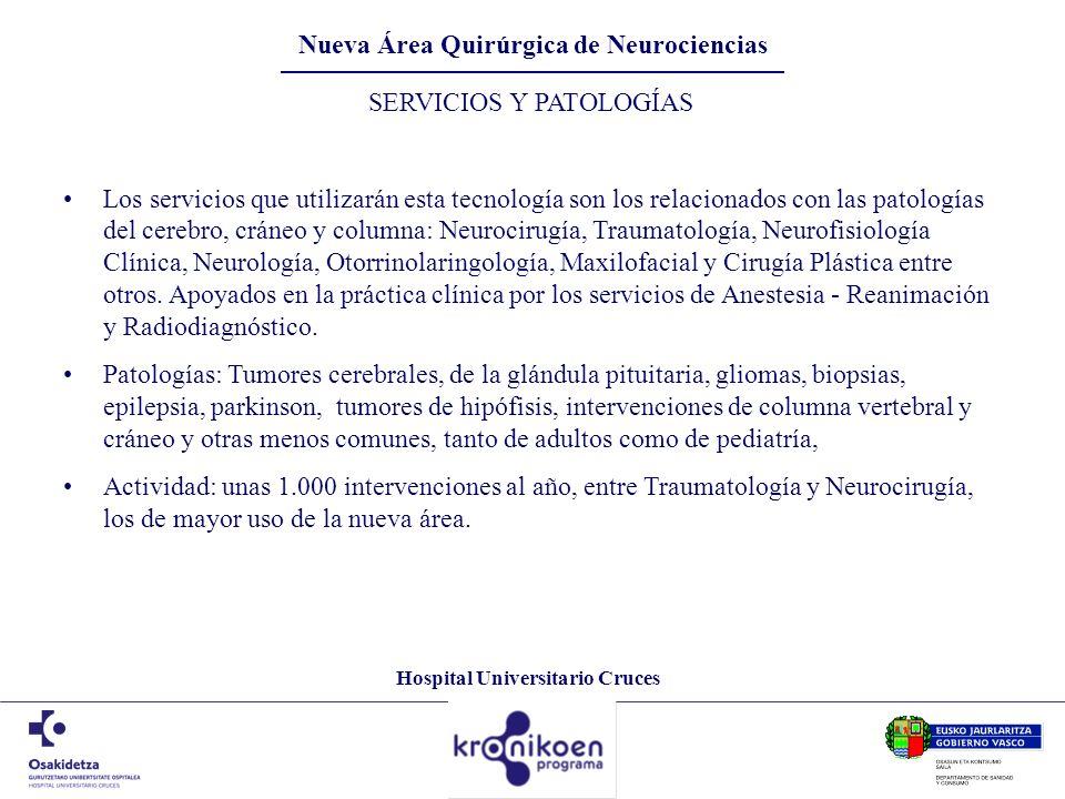 Hospital Universitario Cruces SERVICIOS Y PATOLOGÍAS Los servicios que utilizarán esta tecnología son los relacionados con las patologías del cerebro,