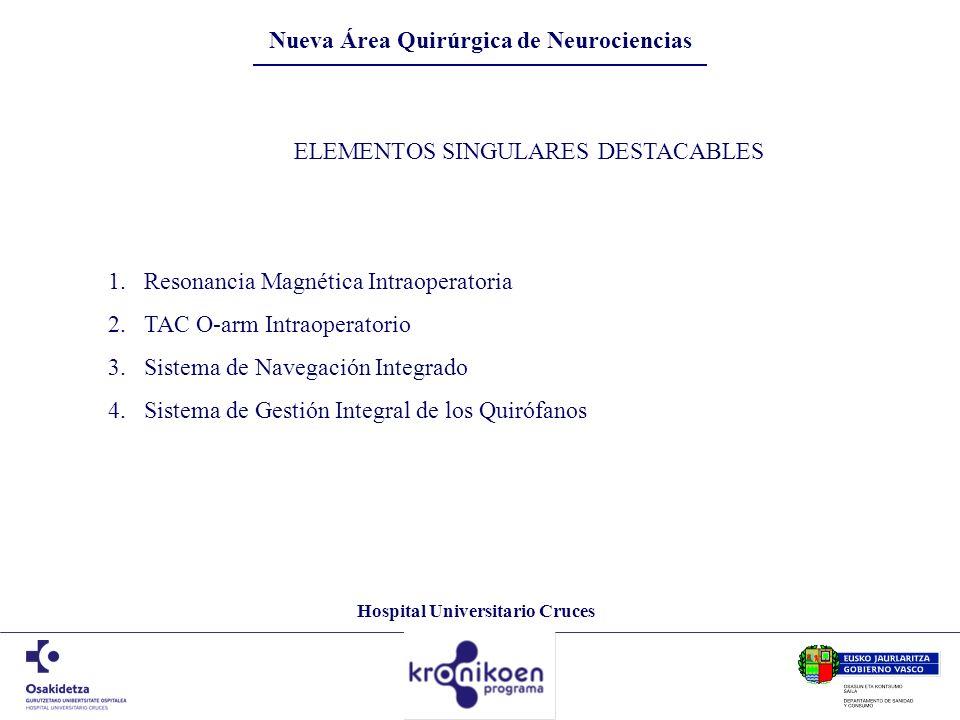 Hospital Universitario Cruces ELEMENTOS SINGULARES DESTACABLES 1.Resonancia Magnética Intraoperatoria 2.TAC O-arm Intraoperatorio 3.Sistema de Navegac