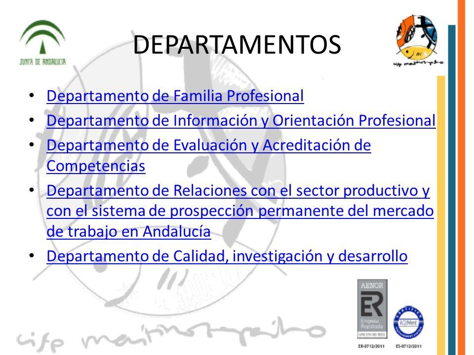 DEPARTAMENTOS Departamento de Familia Profesional Departamento de Información y Orientación Profesional Departamento de Evaluación y Acreditación de C