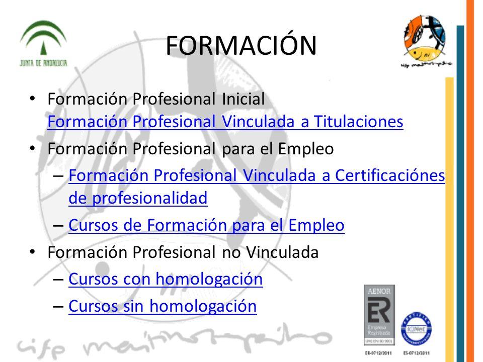 FORMACIÓN Formación Profesional Inicial Formación Profesional Vinculada a Titulaciones Formación Profesional Vinculada a Titulaciones Formación Profes