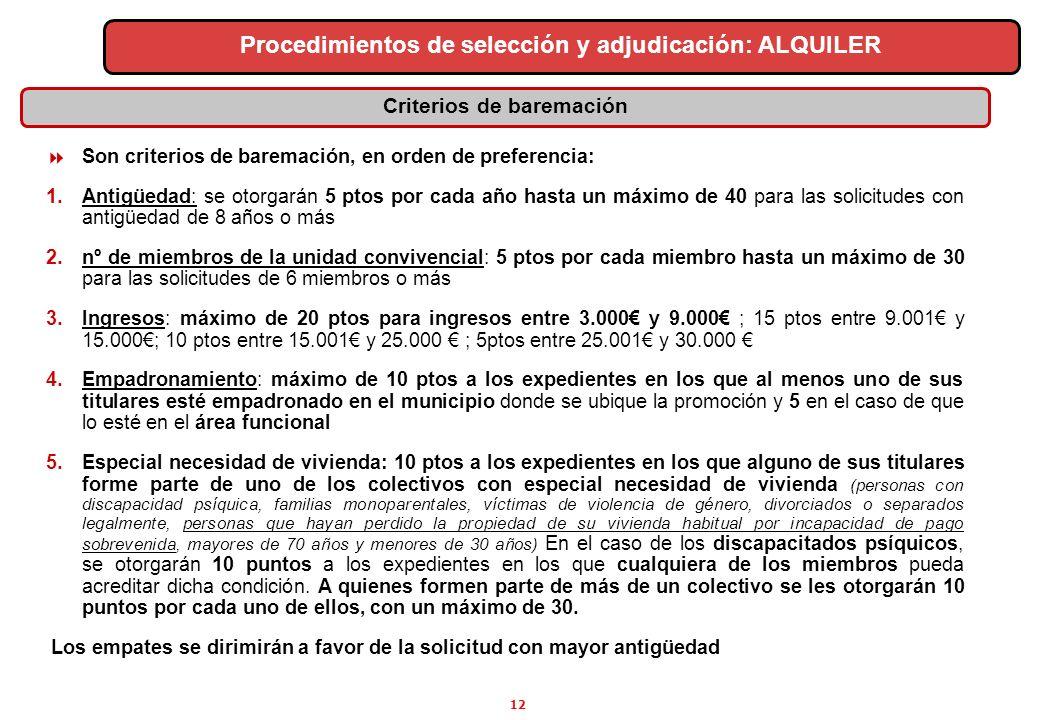12 Criterios de baremación Procedimientos de selección y adjudicación: ALQUILER Son criterios de baremación, en orden de preferencia: 1.Antigüedad: se