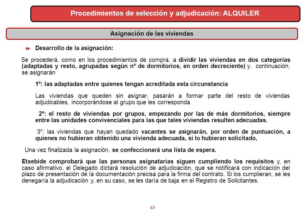 13 Asignación de las viviendas Procedimientos de selección y adjudicación: ALQUILER Desarrollo de la asignación: Se procederá, como en los procedimien