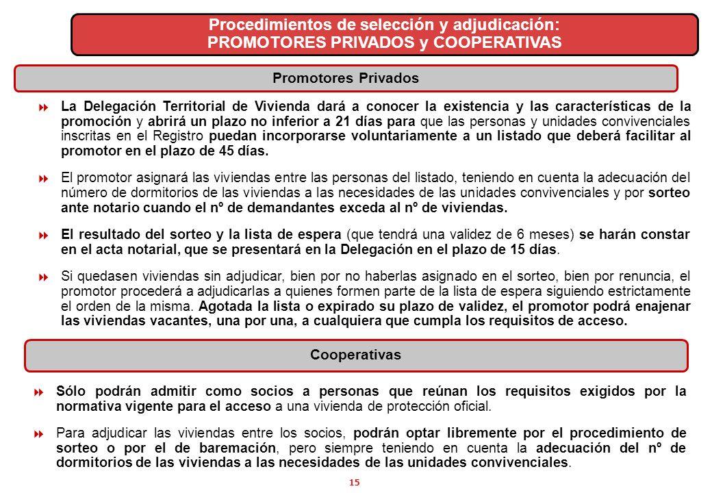 15 Procedimientos de selección y adjudicación: PROMOTORES PRIVADOS y COOPERATIVAS La Delegación Territorial de Vivienda dará a conocer la existencia y