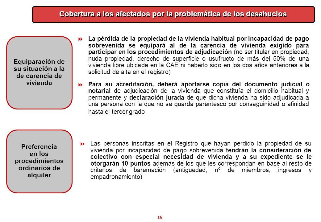 16 Preferencia en los procedimientos ordinarios de alquiler Cobertura a los afectados por la problemática de los desahucios Las personas inscritas en