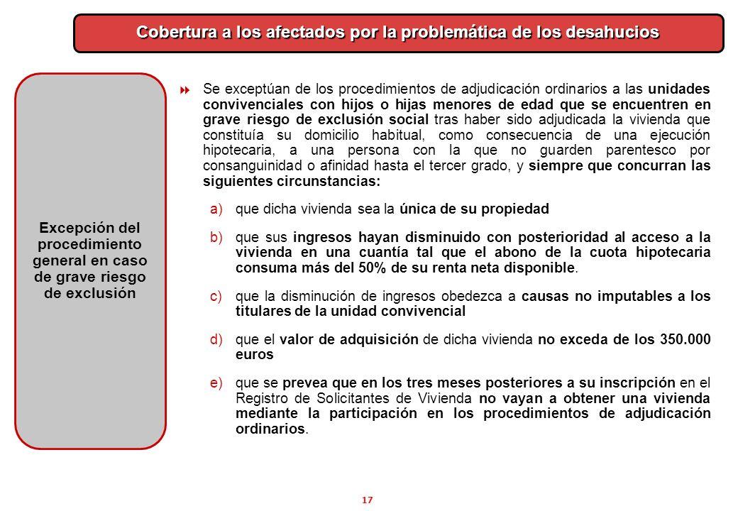 17 Cobertura a los afectados por la problemática de los desahucios Excepción del procedimiento general en caso de grave riesgo de exclusión Se exceptú