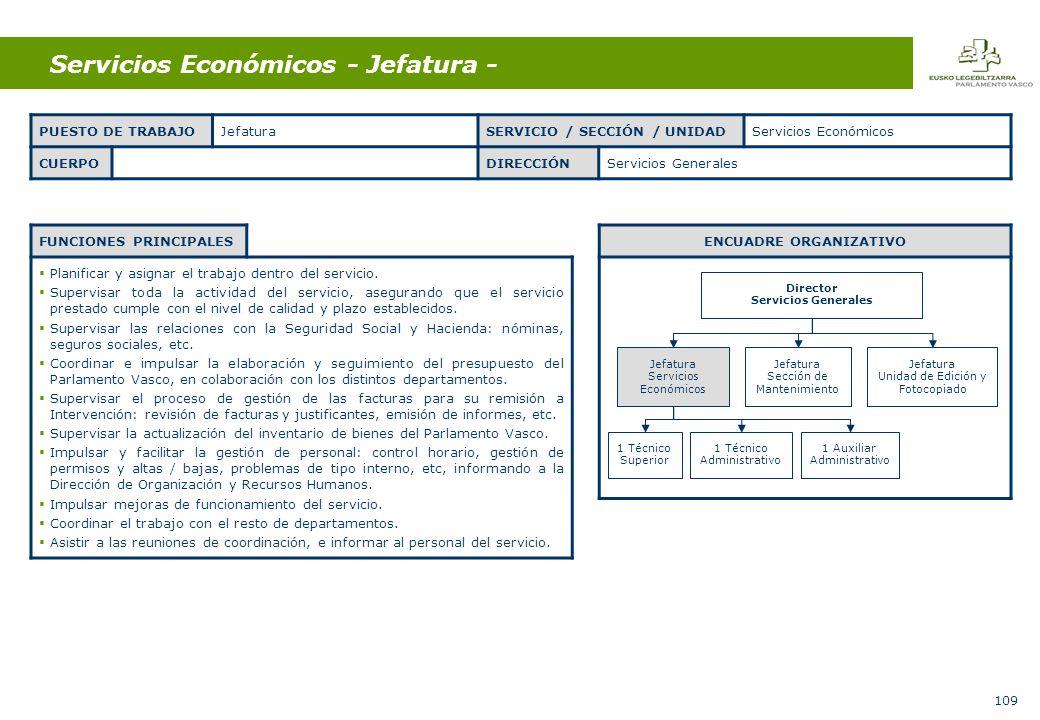109 Servicios Económicos - Jefatura - FUNCIONES PRINCIPALES Planificar y asignar el trabajo dentro del servicio.