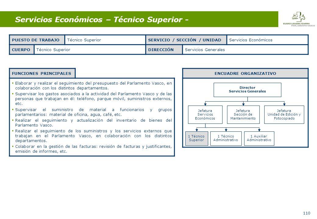 110 Servicios Económicos – Técnico Superior - FUNCIONES PRINCIPALES Elaborar y realizar el seguimiento del presupuesto del Parlamento Vasco, en colaboración con los distintos departamentos.