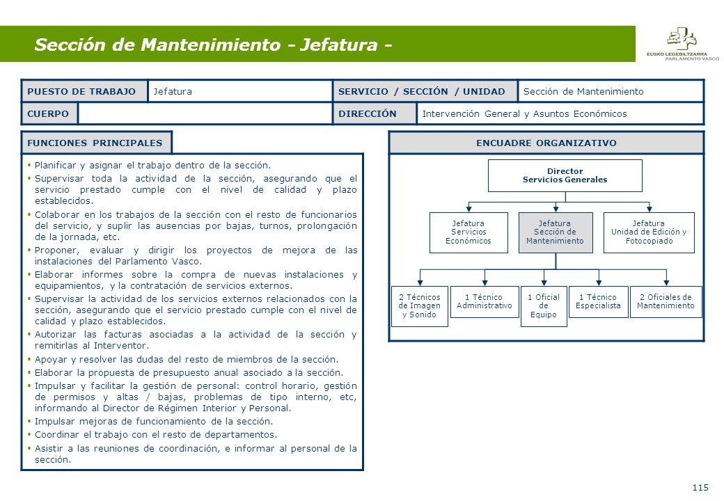 115 Sección de Mantenimiento - Jefatura - FUNCIONES PRINCIPALES Planificar y asignar el trabajo dentro de la sección.