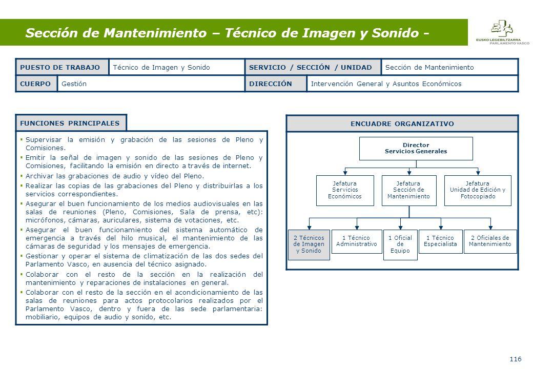 116 Sección de Mantenimiento – Técnico de Imagen y Sonido - FUNCIONES PRINCIPALES Supervisar la emisión y grabación de las sesiones de Pleno y Comisiones.