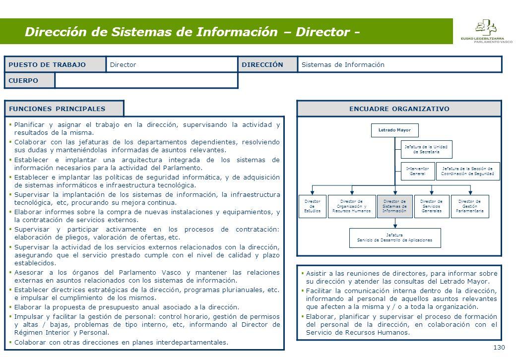 130 Dirección de Sistemas de Información – Director - FUNCIONES PRINCIPALES Planificar y asignar el trabajo en la dirección, supervisando la actividad y resultados de la misma.