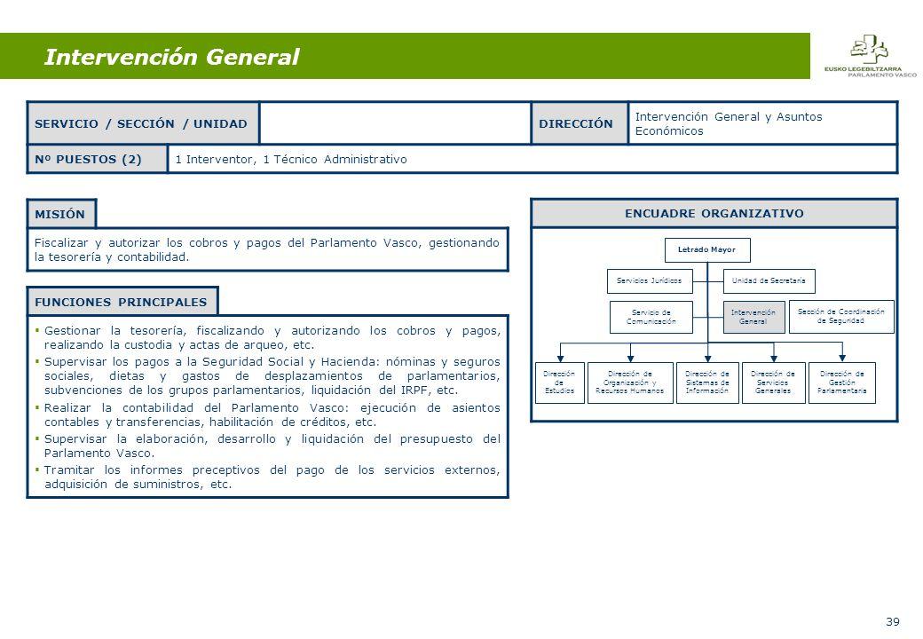39 Intervención General MISIÓN Fiscalizar y autorizar los cobros y pagos del Parlamento Vasco, gestionando la tesorería y contabilidad.