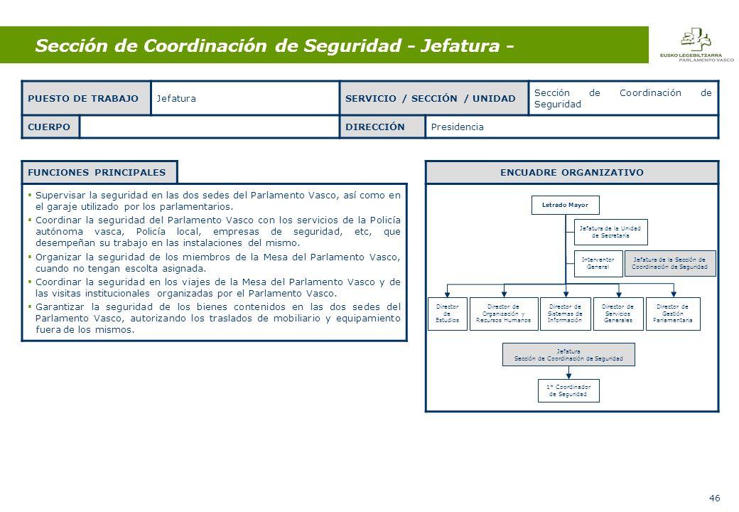 46 Sección de Coordinación de Seguridad - Jefatura - FUNCIONES PRINCIPALES Supervisar la seguridad en las dos sedes del Parlamento Vasco, así como en el garaje utilizado por los parlamentarios.