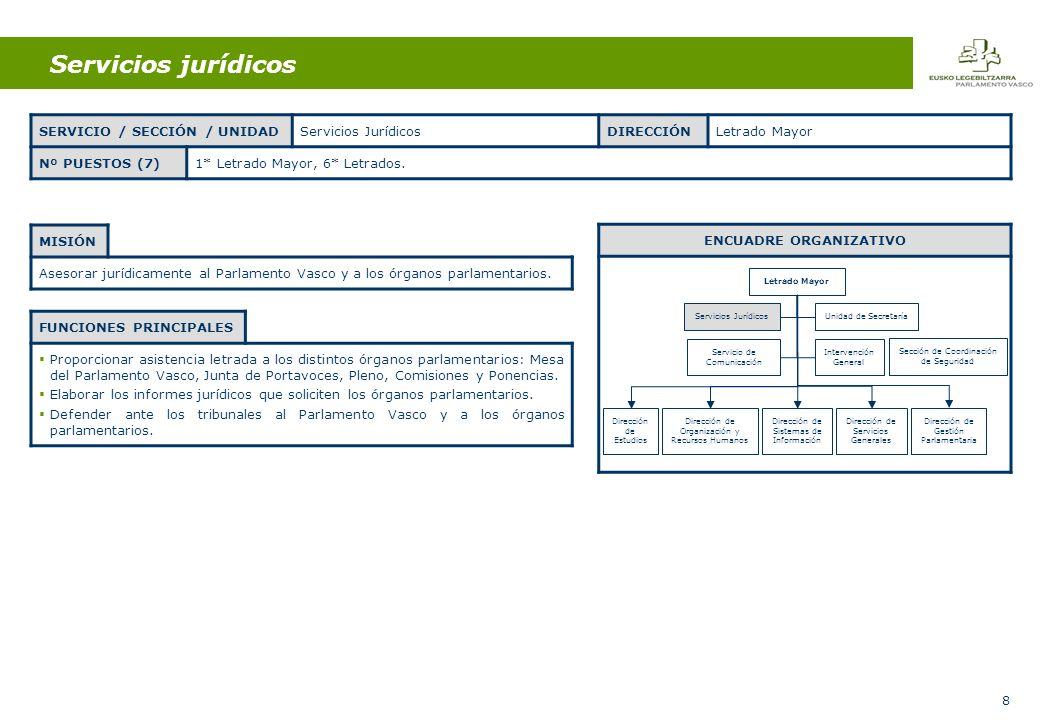 8 Servicios jurídicos MISIÓN Asesorar jurídicamente al Parlamento Vasco y a los órganos parlamentarios.