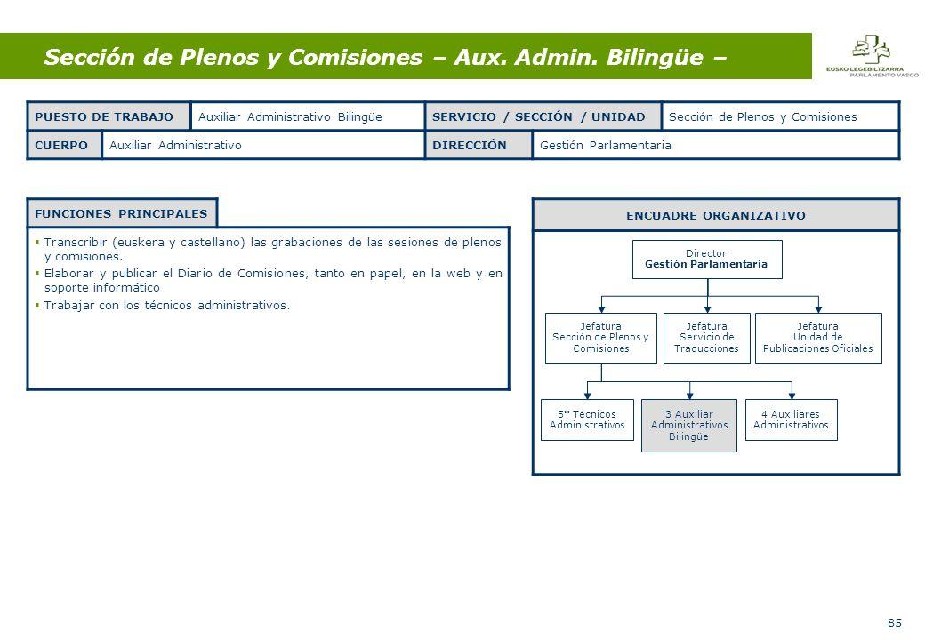 85 Sección de Plenos y Comisiones – Aux. Admin.
