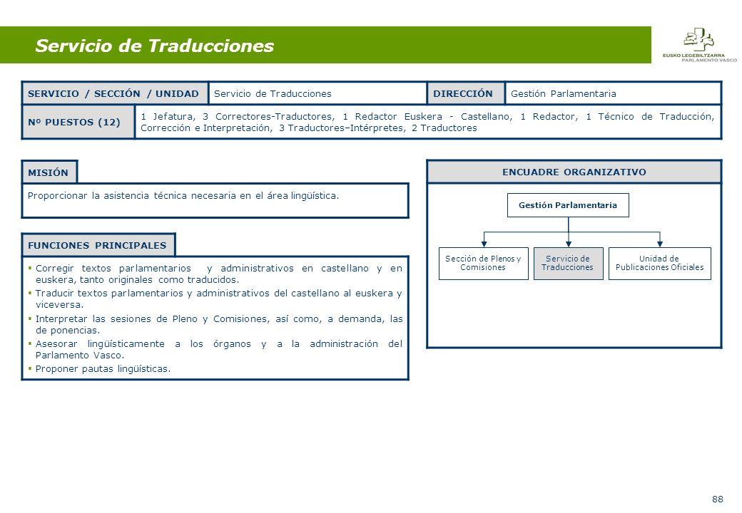 88 Servicio de Traducciones MISIÓN Proporcionar la asistencia técnica necesaria en el área lingüística.
