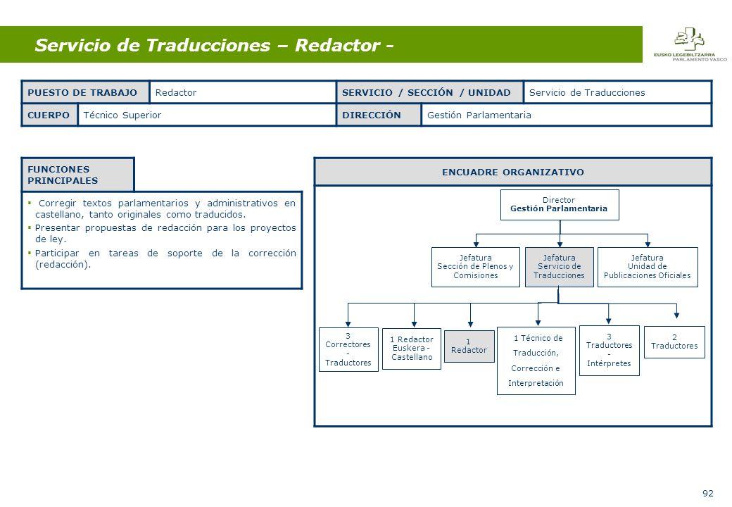 92 Servicio de Traducciones – Redactor - FUNCIONES PRINCIPALES Corregir textos parlamentarios y administrativos en castellano, tanto originales como traducidos.