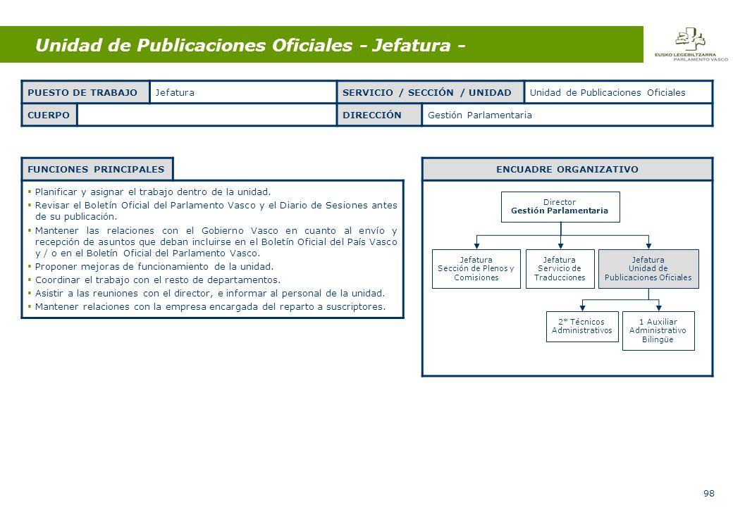 98 Unidad de Publicaciones Oficiales - Jefatura - FUNCIONES PRINCIPALES Planificar y asignar el trabajo dentro de la unidad.
