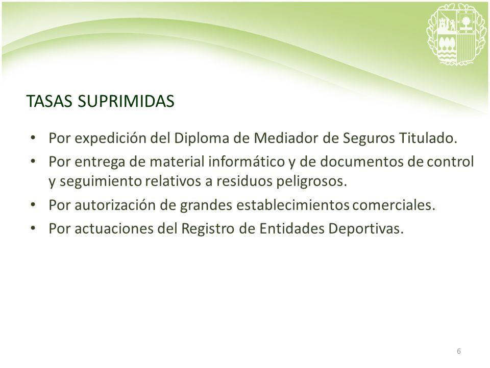 6 TASAS SUPRIMIDAS Por expedición del Diploma de Mediador de Seguros Titulado. Por entrega de material informático y de documentos de control y seguim