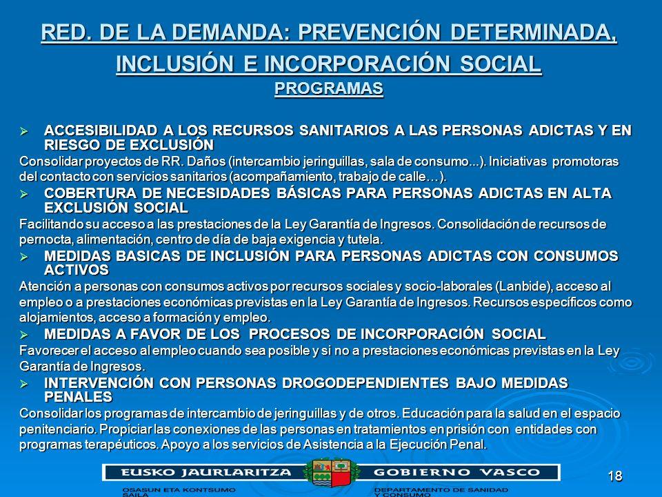 1818 RED. DE LA DEMANDA: PREVENCIÓN DETERMINADA, INCLUSIÓN E INCORPORACIÓN SOCIAL PROGRAMAS ACCESIBILIDAD A LOS RECURSOS SANITARIOS A LAS PERSONAS ADI