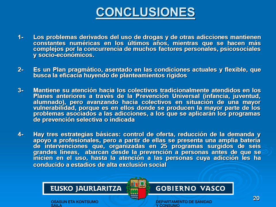 2020CONCLUSIONES 1- Los problemas derivados del uso de drogas y de otras adicciones mantienen constantes numéricas en los últimos años, mientras que s