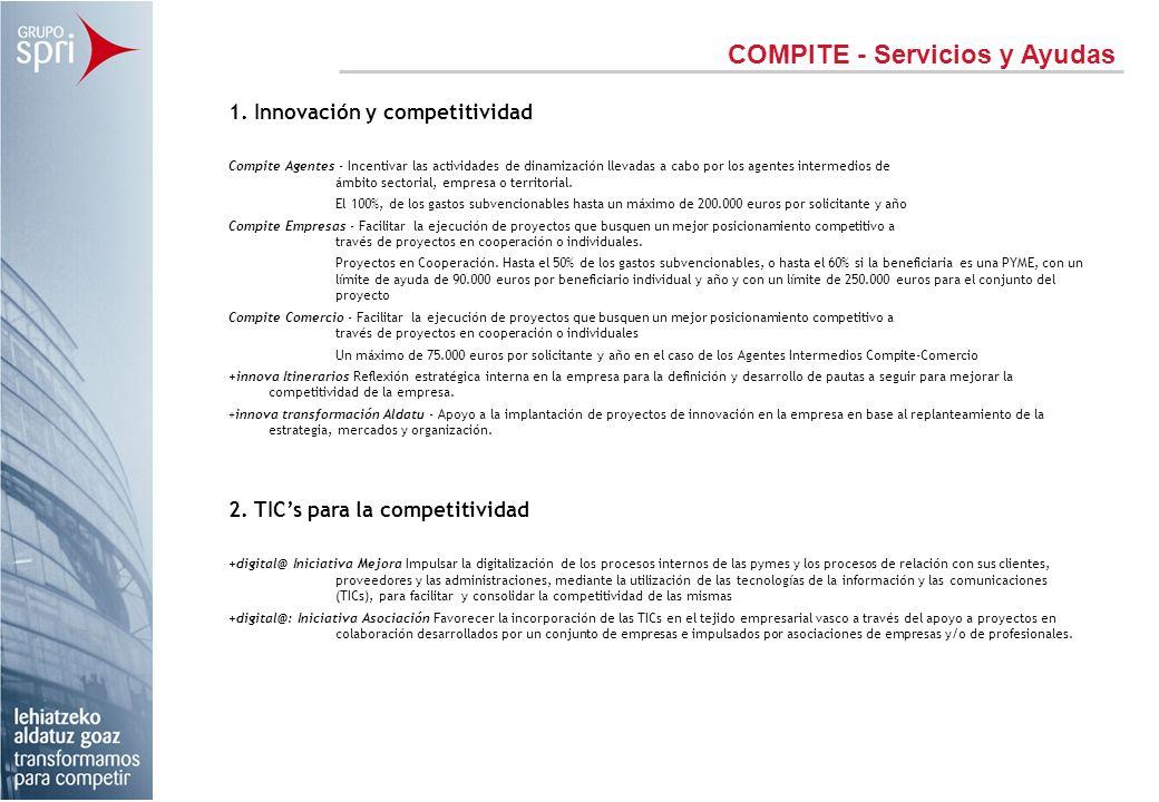 COMPITE - Servicios y Ayudas 1. Innovación y competitividad Compite Agentes - Incentivar las actividades de dinamización llevadas a cabo por los agent