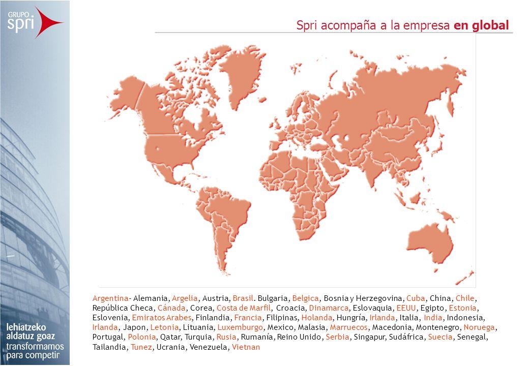Spri acompaña a la empresa en global Argentina- Alemania, Argelia, Austria, Brasil. Bulgaria, Belgica, Bosnia y Herzegovina, Cuba, China, Chile, Repúb