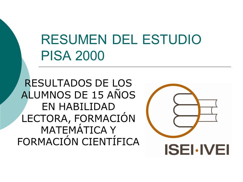 RESUMEN DEL ESTUDIO PISA 2000 RESULTADOS DE LOS ALUMNOS DE 15 AÑOS EN HABILIDAD LECTORA, FORMACIÓN MATEMÁTICA Y FORMACIÓN CIENTÍFICA