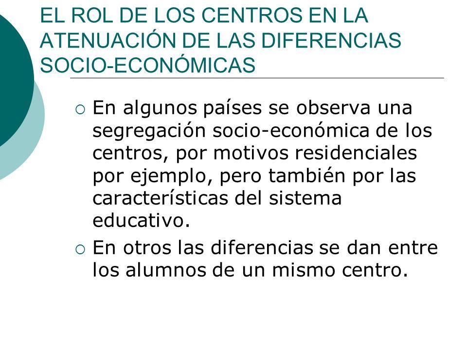 EL ROL DE LOS CENTROS EN LA ATENUACIÓN DE LAS DIFERENCIAS SOCIO-ECONÓMICAS En algunos países se observa una segregación socio-económica de los centros, por motivos residenciales por ejemplo, pero también por las características del sistema educativo.