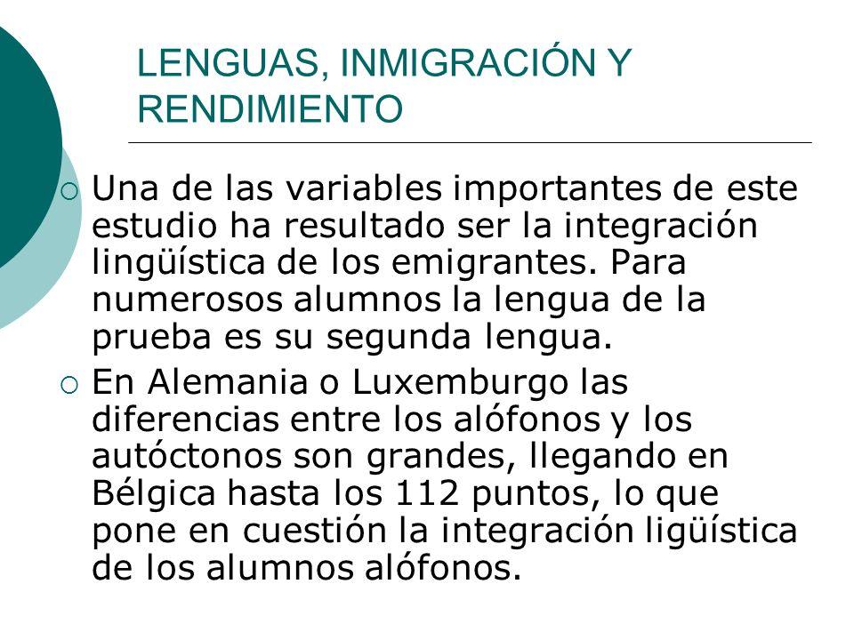 LENGUAS, INMIGRACIÓN Y RENDIMIENTO Una de las variables importantes de este estudio ha resultado ser la integración lingüística de los emigrantes.