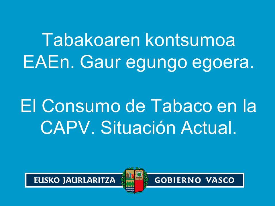 Tabakoaren kontsumoa EAEn. Gaur egungo egoera. El Consumo de Tabaco en la CAPV. Situación Actual.