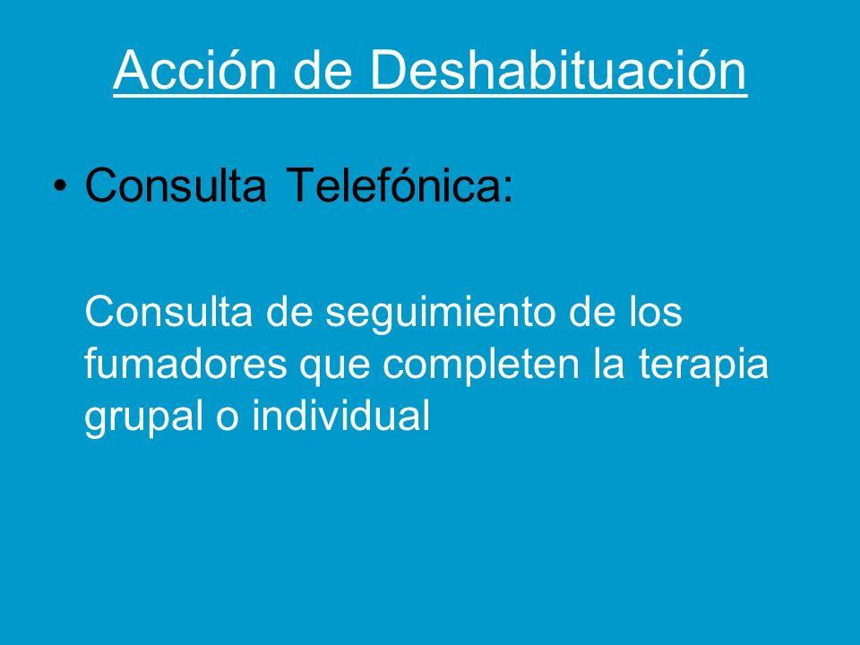 Acción de Deshabituación Consulta Telefónica: Consulta de seguimiento de los fumadores que completen la terapia grupal o individual
