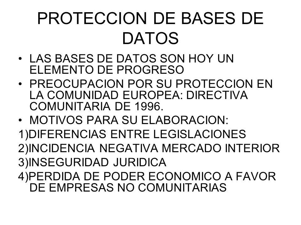 PROTECCION DE BASES DE DATOS LAS BASES DE DATOS SON HOY UN ELEMENTO DE PROGRESO PREOCUPACION POR SU PROTECCION EN LA COMUNIDAD EUROPEA: DIRECTIVA COMUNITARIA DE 1996.