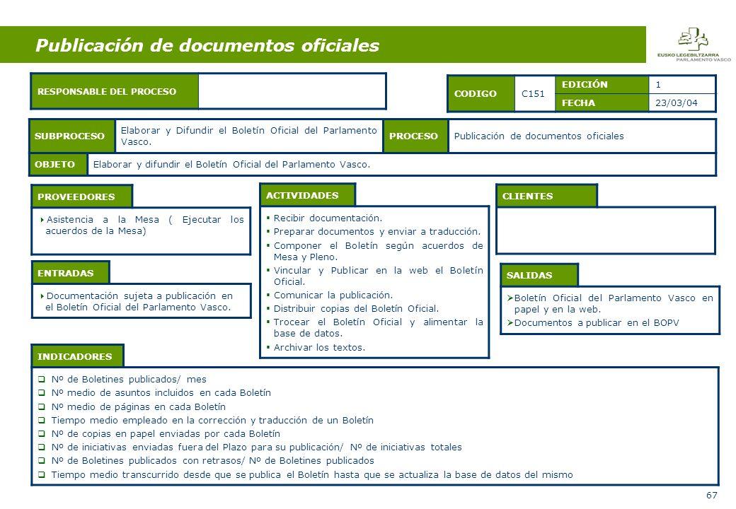 67 Publicación de documentos oficiales ENTRADAS Documentación sujeta a publicación en el Boletín Oficial del Parlamento Vasco.