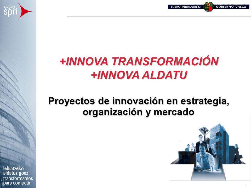 +INNOVA TRANSFORMACIÓN +INNOVA ALDATU Proyectos de innovación en estrategia, organización y mercado