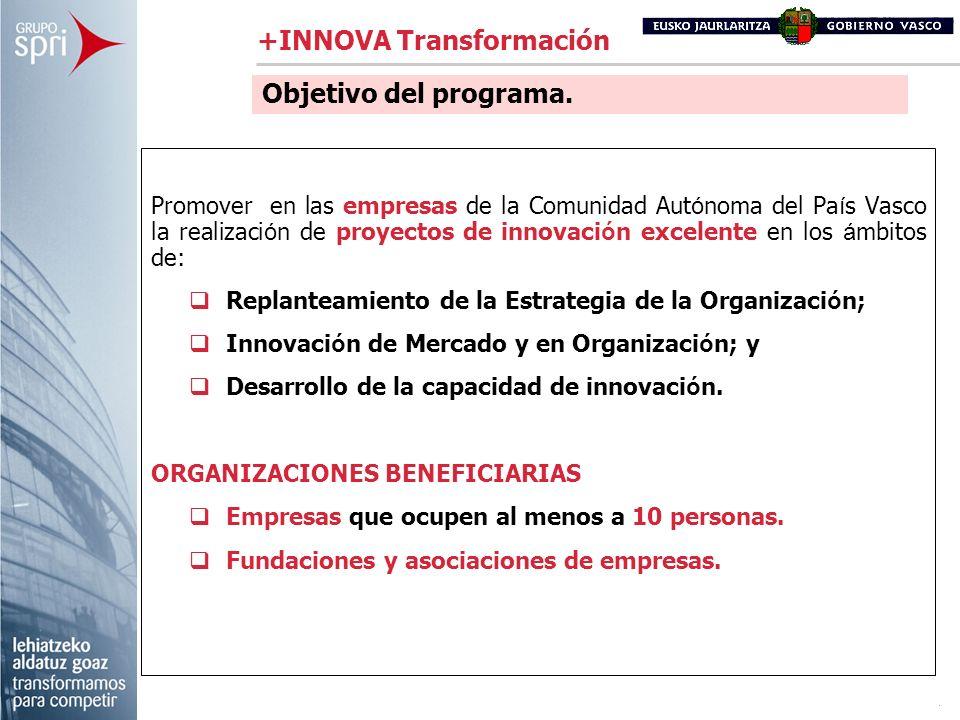 Promover en las empresas de la Comunidad Aut ó noma del Pa í s Vasco la realizaci ó n de proyectos de innovaci ó n excelente en los á mbitos de: Repla