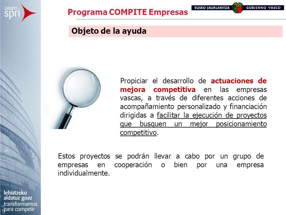 Propiciar el desarrollo de actuaciones de mejora competitiva en las empresas vascas, a través de diferentes acciones de acompañamiento personalizado y